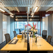 Versatile meeting spaces at The B:HIVE – part ceiling, conference hall, dining room, interior design, office, table, gray
