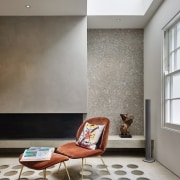 Andy Martin Architecture – Renovation in London ceiling, chair, floor, flooring, furniture, interior design, laminate flooring, living room, room, table, tile, wall, wood flooring, gray