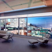 The apartment in the evening apartment, architecture, ceiling, daylighting, interior design, living room, lobby, penthouse apartment, real estate, gray