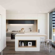 Promenade Aqui by Woods Bagot interior design, kitchen, living room, white