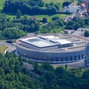 569 firestation aerial photography, bird's eye view, estate, real estate, sport venue, structure, blue, teal