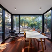 The dining room is surrounded by windows architecture, daylighting, estate, home, house, interior design, property, real estate, window, gray