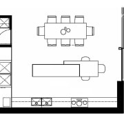 Floorplan of kitchen designed by Mitsuori Architects shows angle, architecture, area, black and white, design, diagram, drawing, floor plan, font, line, product, square, structure, technical drawing, text, white