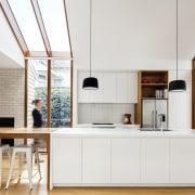 Windows run up from the floor and transform architecture, cuisine classique, furniture, interior design, kitchen, white