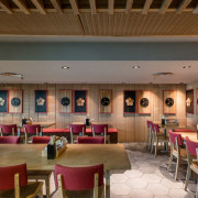 There's ample seating – important in any airport cafeteria, ceiling, function hall, institution, interior design, lobby, restaurant, brown
