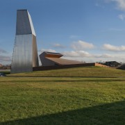 New brandy warehouse by TOTEMENT/PAPER architecture, cloud, farm, field, grass, house, plant, rural area, sky, brown