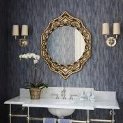 This powder room is luxurious and elegant bathroom, interior design, room, wall, window, gray, black
