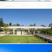 The roof of the gazebo provides partial shade architecture, elevation, estate, home, house, leisure, property, real estate, residential area, sky, teal