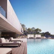 See the home here apartment, architecture, condominium, estate, hotel, house, property, real estate, resort, swimming pool, gray, white