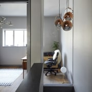 A window into the office architecture, house, interior design, light fixture, table, gray