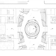Ground floor plan showing how Tianjin Binhai Library's area, artwork, black and white, design, diagram, drawing, engineering, floor plan, font, line, line art, plan, product, technical drawing, text, white