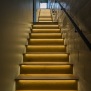 Arrowtown-based Bennie Builders was the only Southern Lakes architecture, daylighting, handrail, light, lighting, line, stairs, wall, wood, brown