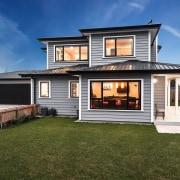 Envira bevel back weatherboards cottage, elevation, estate, facade, home, house, luxury vehicle, property, real estate, residential area, siding, window, brown, blue