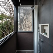 A bathroom with a view architecture, daylighting, glass, home, house, interior design, real estate, window, black, gray