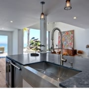 The remodelled kitchen features views out to the countertop, estate, home, interior design, kitchen, property, real estate, gray