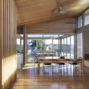 Clerestory windows light the entire space – living, architecture, ceiling, daylighting, floor, flooring, hardwood, house, interior design, real estate, window, wood, wood flooring, brown, gray