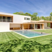 Could you ask for more picturesque surroundings? architecture, elevation, estate, facade, grass, home, house, property, real estate, villa, green