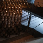 New brandy warehouse by TOTEMENT/PAPER architecture, daylighting, light, lighting, stairs, tourist attraction, wood, black