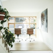 This office, situated on the staircase landing, faces architecture, home, house, interior design, property, white