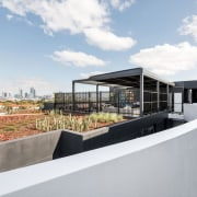 The rooftop garden is a private retreat architecture, house, real estate, white