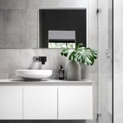 A floating vanity makes this bathroom feel much bathroom, bathroom accessory, bathroom cabinet, ceramic, countertop, interior design, product, product design, sink, tap, white, gray