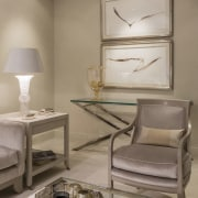 Soft 'moody' tones fill the renovated apartment furniture, home, interior design, living room, product design, room, table, gray, brown
