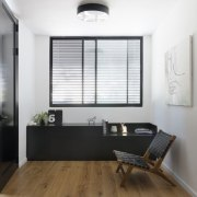 This small space features black elements, in contrast floor, interior design, real estate, window, white