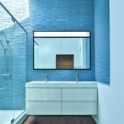 This blue bathroom has an ocean-like quality to architecture, bathroom, daylighting, floor, interior design, product design, wall, teal
