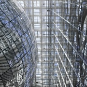This new headquarters for the European Union Council architecture, building, daytime, facade, landmark, line, metal, metropolis, metropolitan area, pattern, scaffolding, skyscraper, structure, tower block, urban area, gray, black