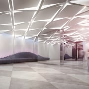 A lobby straight out of a science-fiction film architecture, ceiling, daylighting, floor, interior design, lobby, structure, gray