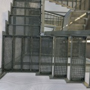 569 firestation architecture, daylighting, glass, handrail, mesh, product, structure, gray, black