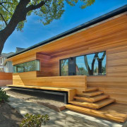 Clear cedar gives the renovated section a contemporary architecture, cottage, facade, home, house, log cabin, property, real estate, siding, wood, brown