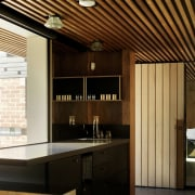 Wood slats run along the ceiling above this architecture, ceiling, countertop, interior design, black, brown