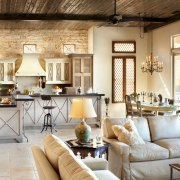 A large island dominates the kitchen – perfect home, interior design, living room, room, gray, brown