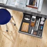 Slim, minimalist design and diverse setting options – floor, flooring, furniture, product design, table, wood, orange