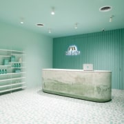 Sergio Mannino Studio designed this pharmacy to be bathroom, ceiling, floor, interior design, product, room, gray, teal