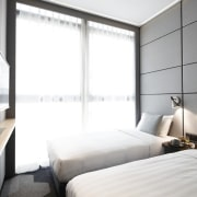 Hotel Ease Access architecture, bedroom, ceiling, hotel, interior design, property, room, suite, window, white, gray