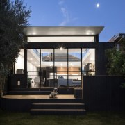 An interesting deck and space for a canine architecture, facade, home, house, real estate, residential area, black