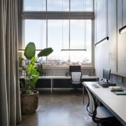 Large windows throughout this office mean no shortage architecture, home, interior design, office, window, gray, black