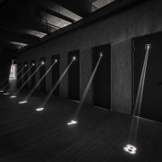 This changing space features the arresting move of architecture, black, black and white, darkness, daylighting, floor, light, lighting, monochrome, monochrome photography, photography, structure, black