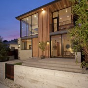 Wood and glass create an inviting facade architecture, elevation, estate, facade, home, house, property, real estate, residential area, siding, window, brown