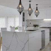 Smartstone countertop, furniture, interior design, kitchen, light fixture, product design, tap, gray