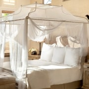The master bedroom European touches and views of bed, bed frame, bedroom, four poster, furniture, home, interior design, mosquito net, product, white