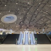 Municipal Offices and Train Station, Delft airport terminal, architecture, building, ceiling, convention center, daylighting, infrastructure, performing arts center, structure, gray, black