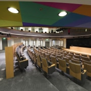 This new headquarters for the European Union Council auditorium, conference hall, function hall, brown, black