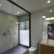 Opaque glass and a skylight keep the bathroom architecture, bathroom, ceiling, daylighting, interior design, real estate, room, sink, gray