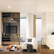 There are Japanese influences throughout this apartment, from door, floor, flooring, home, interior design, living room, real estate, room, wood flooring, white