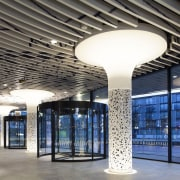 Municipal Offices and Train Station, Delft architecture, ceiling, daylighting, glass, interior design, lighting, lobby, structure, black, gray