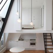 Architect: jbmn architectesPhotographer: Hermann Wendler architecture, daylighting, floor, home, house, interior design, loft, room, gray, white
