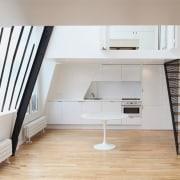 Architect: jbmn architectesPhotographer: Hermann Wendler architecture, floor, furniture, home, house, interior design, loft, room, stairs, gray, white